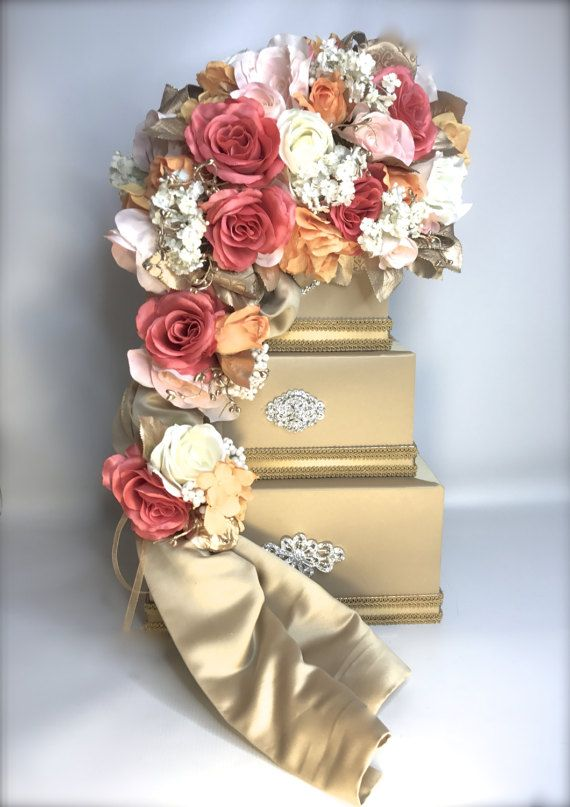 wedding card box holder coral pink orange ivory gold elegant unique secured lock wedding card box diamond wedding card box gold wedding