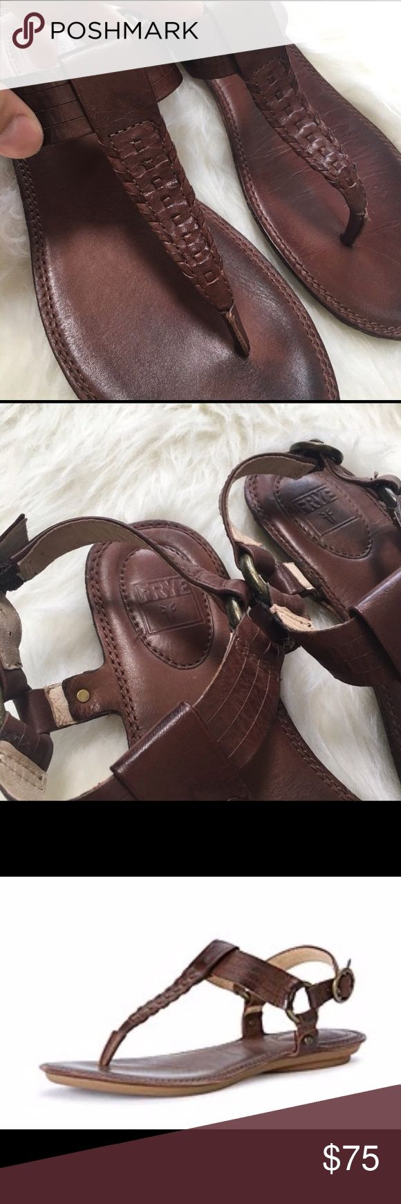 Frye Alessia Artisanal T strap sandal Reposh. Beautiful, perfect condition, real leather sandal. I usually wear a 7, sometimes 7.5 so these were a gamble and they are a bit too big. The last two photos are of them on my foot, I just don't like that much sole in front of my toes. I got a great deal on them and am only asking what I paid. Trade possible for similar quality sandals in a 7. Thanks! Frye Shoes Sandals