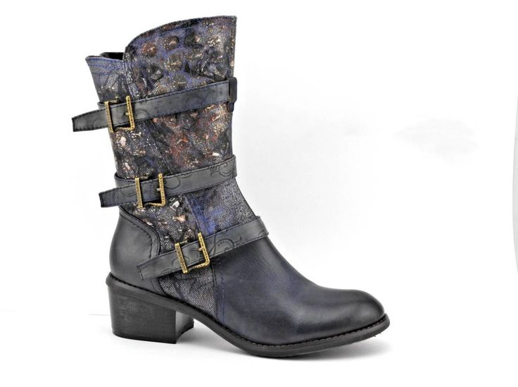 With a series of buckles and a splash of gold on blue, the Karen Buckle Boot is…