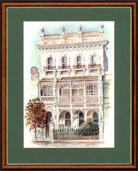 """Olga Gostin… """"Wedding Cake"""",, Fitzroy Melbourne, Australia... During the Victorian gold rush of 1880, cast-iron reached extreme heights of elaboration. Houses were decorated like wedding cakes, with an amazing variety of verandahs, mouldings and intricate lacework. Roofs vanished behind parapets topped with ornamental urns, shells and fruits, to proclaim the wealth of its owner..."""