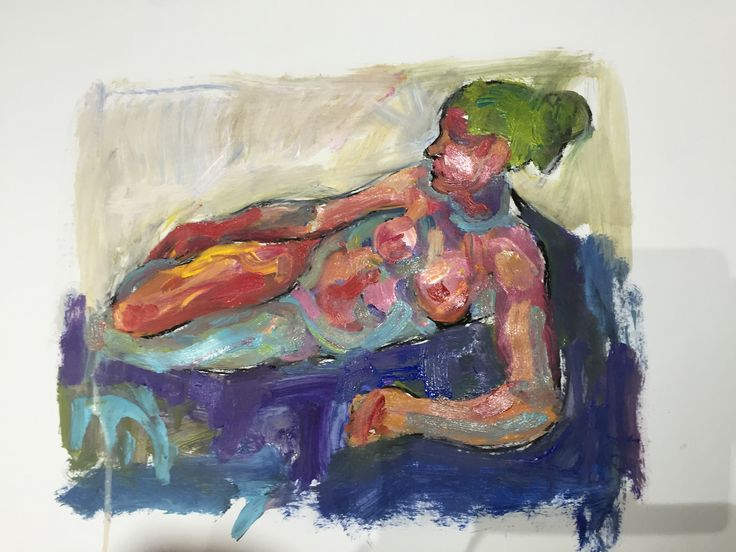 Acrylic and charcoal nude on paper by Mick Connolly