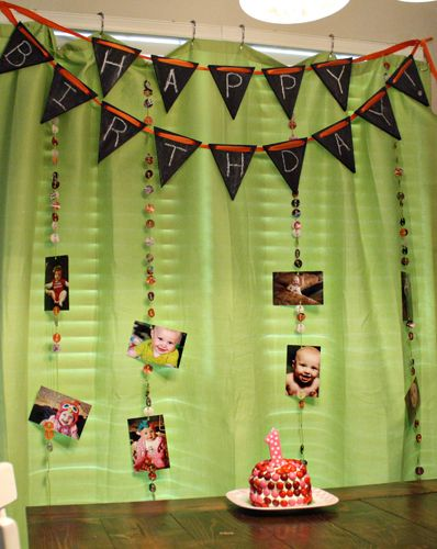 Charlies First Birthday Party Decorations DIY Chalkboard Pennant And Recycled Streamers 1 Circle Hole Punch O
