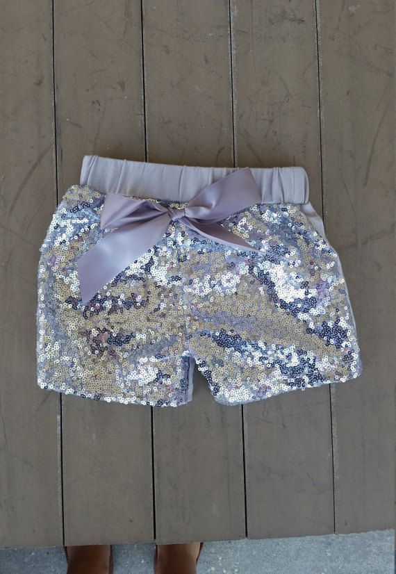 Silver Sequin Shorts Glitter shorts toddler shorts by Cassandis