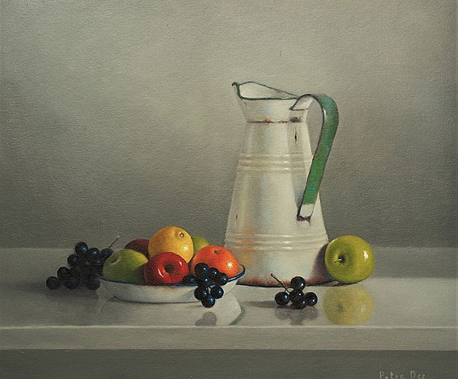 Vintage French Enamelware with Fruit by Peter Dee | Irish Art, The Doorway Gallery, Irish Art Gallery