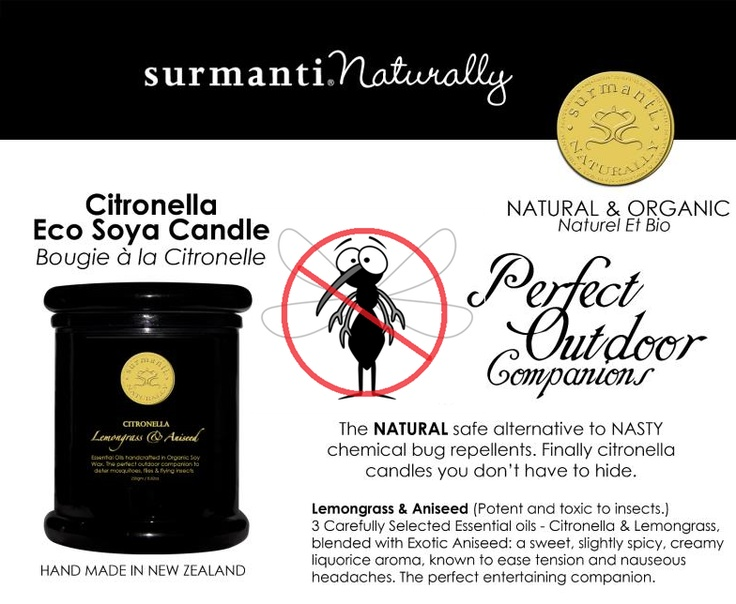 surmanti naturally citronella eco soya candles are long burning to ward off bugs for longer.