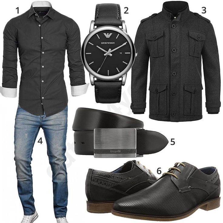 Eleganter Herren-Style mit grauem Amaci&Sons Hemd, Emporio Armani Armbanduhr, dunkelgrauem Redefined Rebel Mantel, A. Salvarini Jeans, Bugatti Ledergürtel und Schnürschuhen.