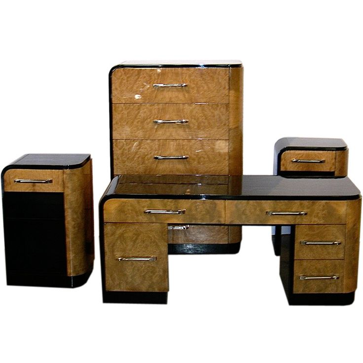 Streamline Art Deco set by Donald Deskey Burled walnut and hand polished  black lacquer - 809 Best Art Deco Bedroom Furniture Images On Pinterest Art Deco
