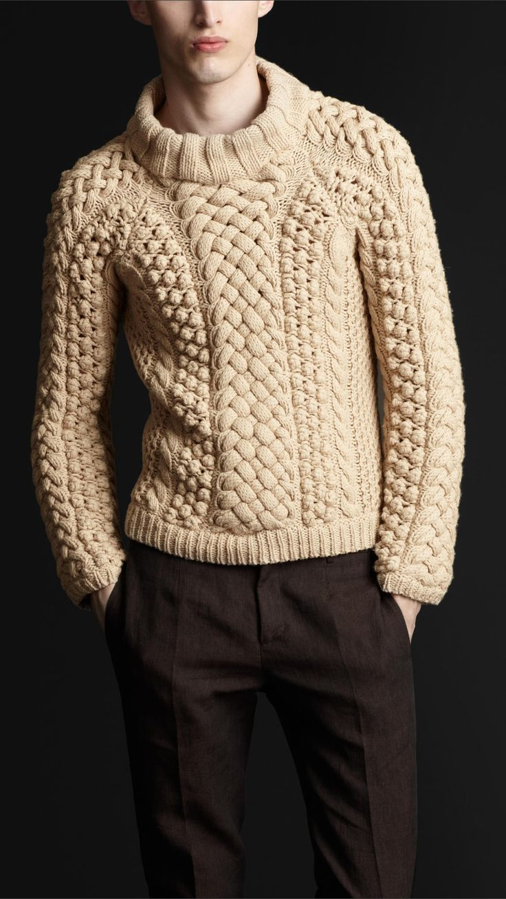 Burberry Prorsum Chunky Cable Knit Sweater in Beige for ...