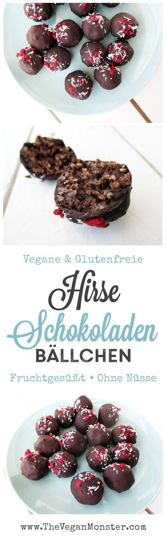 Hirse Schoko Bällchen. Vegan, glutenfrei, ohne Kristallzucker.