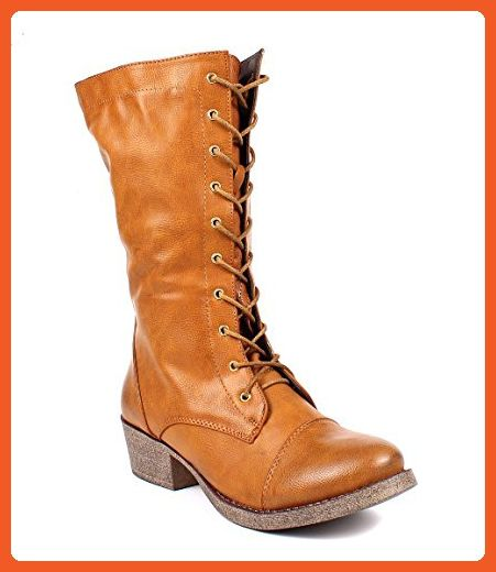 Fashion Lace up Zip Combat Military Faux Leather 2 Tone Womens Mid Calf Boots New Without Box (5.5, Cognac) - Boots for women (*Amazon Partner-Link)
