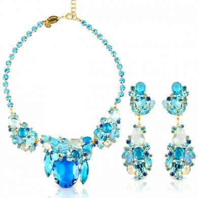 #Unger Bijoux - Acqua Azzurro Set #Earring #Necklace #Jewelry #Citrusstv $399