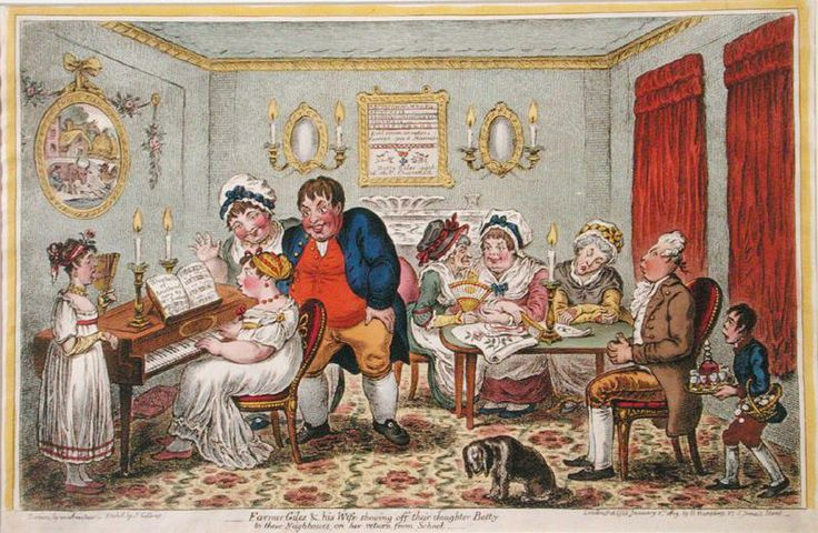 Farmer Giles and his wife showing off their daugher Betty to their neighbors on her return from school (Gillray, 1806) | Daughters of the upper classes (or those seeking to improve their social position) were expected to be skilled musicians, and would often be called upon to play and/or sing for the entertainment of the assembled company; their skill in performing was a measure of their breeding, education, and accomplishments.