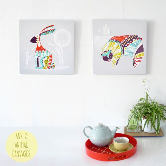 ANY 2 Animal Canvases, Animal Wall Art, Bright Colorful Framed Canvas, ready to hang, Nature Print, Art for Home, Living room, Nursery Art