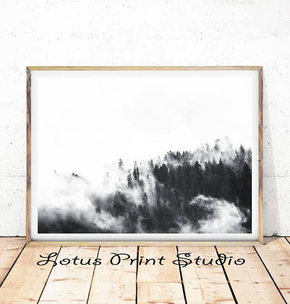 Foggy Forest Print Minimalist Landscape Wall Art Black &