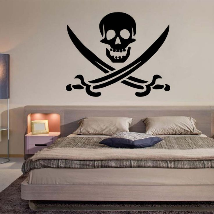 DCTOP Pirate Symbol Decal DIY Removable Art Skull Wall Sticker Mural  3D Design House Decoration For Living Room