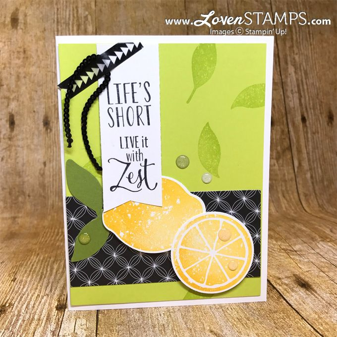 I'm in love with the black and white contrast along with the bright Lemon Lime Twist and Crushed Curry – what a fun color scheme! I've been thinking BRIGHT lately as I was getting ready for our Stampin' Up! trip to Thailand (eek!) – plus time in Tokyo along the way! This card is actually …