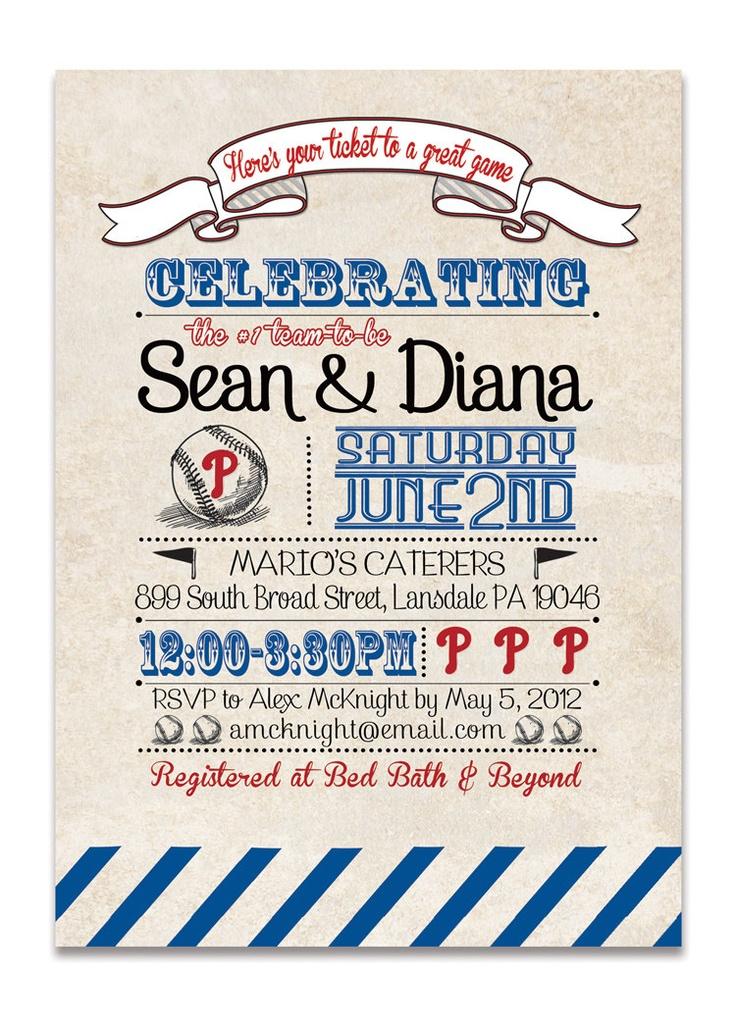 Phillies Bridal Shower Invitation Baseball Invitation Vintage Retro Baseball Wedding Shower Red Blue DIY Printable or Printed- Diana Style. $23.00, via Etsy.