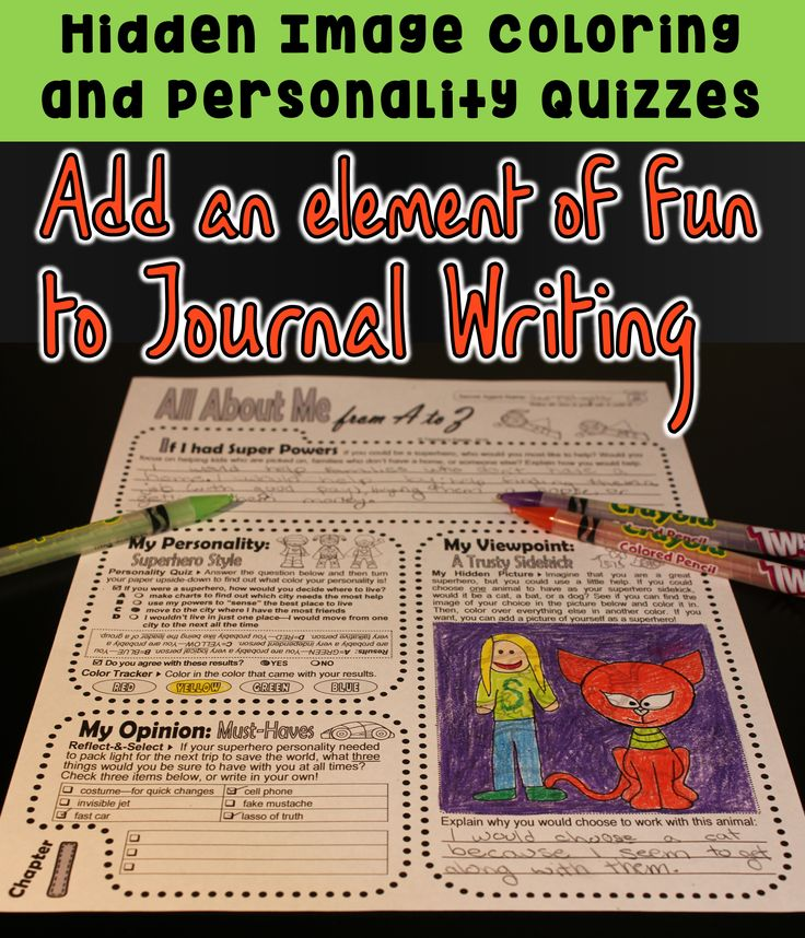Journaling Kit with a fun variety of topics, personality quizzes, and hidden images for students to illustrate their writing.