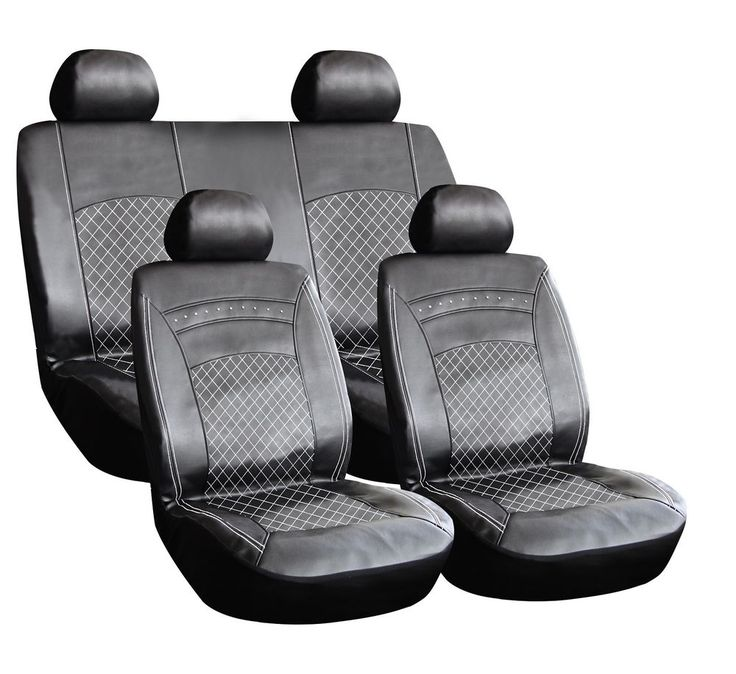 8 PIECE LEATHER LOOK PVC SEAT COVERS BLACK + WHITE STITCHING BMWBW