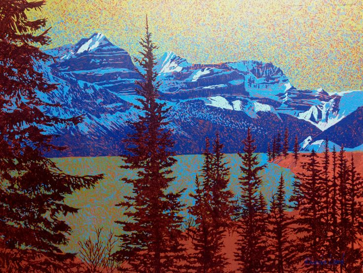 """View from Banff-Lake Louise Highway"" by Artist Rhonda Lund 48 x 36"" Acrylic on Canvas; Staple back 2014 'emphasising the precision in the mountainous forms"
