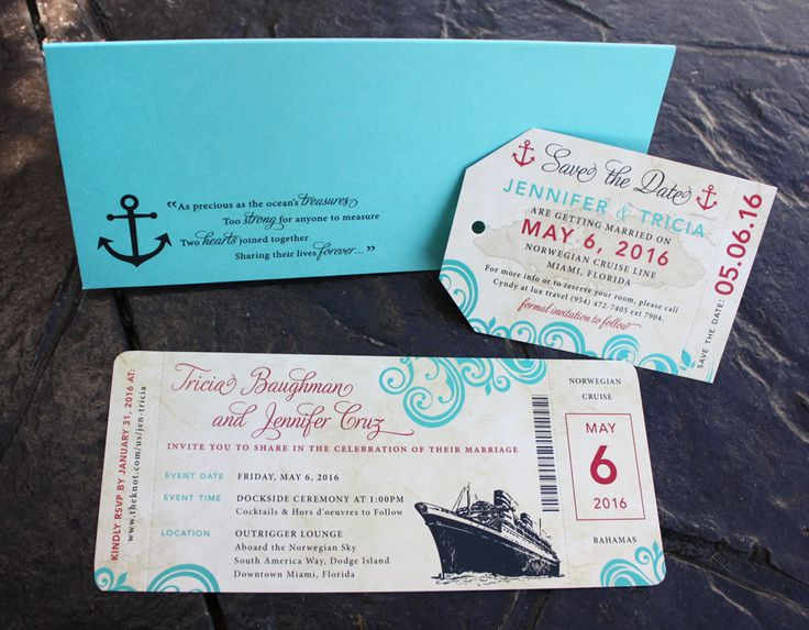 Turquoise & Red Swirls & Ship Antique Cruise Ticket Wedding Invitations & Luggage Tag Save-the-Dates