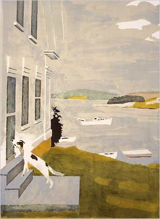 """Dog at the Door"" (1971) by Fairfield Porter. Credit Portland Museum of Art"