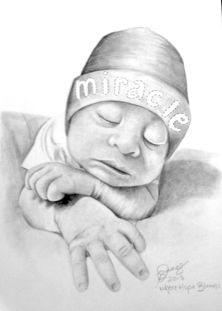 Where Hope Blooms, pencil portrait of Baby Angela. Anencephaly awareness