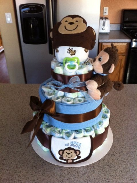 4Tier Monkey Diaper Cake Blue and Brown by DiaperCakesByKristin, $60.00
