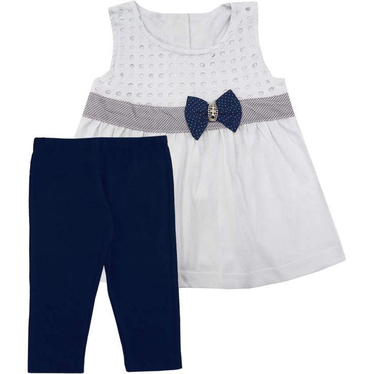 Conjunto Infantil com Mini-Vest Feminino Marinho - Nini & Bambini :: 764 Kids | Roupa bebê e infantil