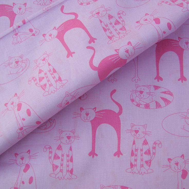 Kočičky růžové - cena za 0,5 m, šířka 140 cm Bavlněná látka s motivem kočiček na růžovém podkladě. Český výrobek. Šíře ideální pro šití dětského povlečení, mantinelů do dětských postýlek a jiných doplňků. Velikost kočiček do 8 cm, největší v plné barvě i s ocáskem 10 cm. Kvalita: 140 g/m2 Šířka: 140 cm Srážlivost: 4%