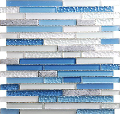 Sky Blue Linear Glass Mosaic Tile Sheets For Kitchen