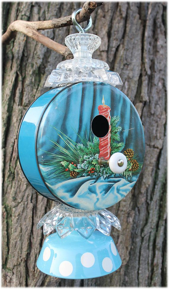 Vintage Tin Let it Snow Bird House by JunkWhisperers on Etsy