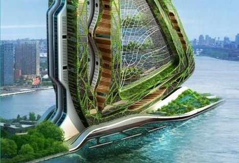 The Dubai-esque Dragonfly addresses issues like food production and agriculture in cities that are horizontally-challenged for space like New York City. The concept supports housing, offices, laboratories and twenty-eight different agricultural fields. Photo courtesy of: Vincent Callebaut Architectures
