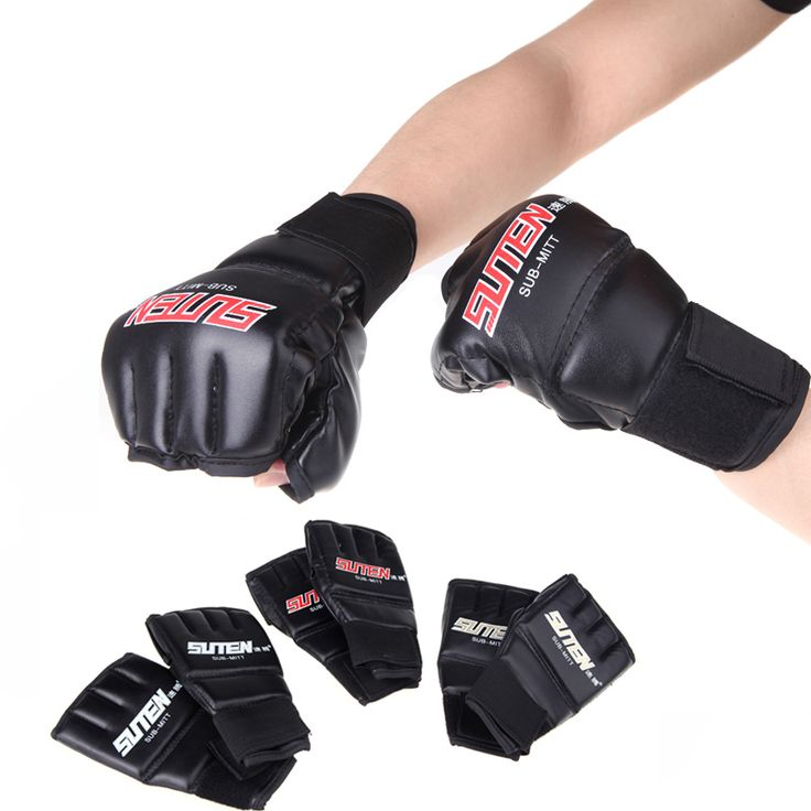 PU Leather MMA Half Mitts Mitten Boxing Gloves