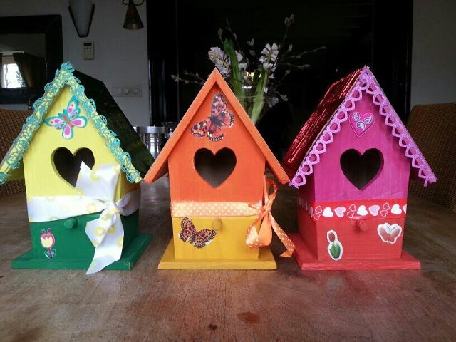 Kinderfeest arrangement, vogelhuisje pimpen!