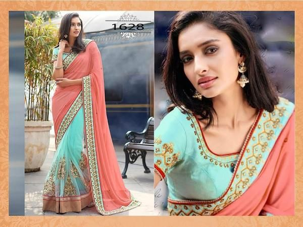 Beautiful Peach And Sea Greenbuy Online Bollywood Sarees ,Indian Dresses - 1