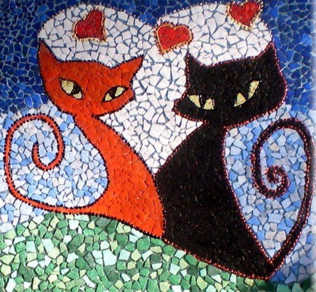 la reutilización de huevos con cáscara del mosaico del arte gatos pascua decoración pintura única