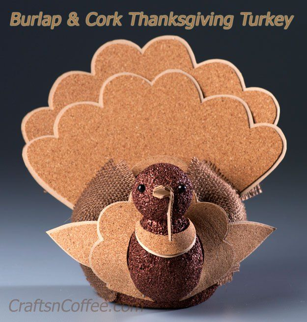 DIY a beautiful, Burlap & Cork Turkey for your Thanksgiving table over on CraftsnCoffee.com.