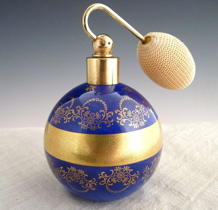 German porcelain perfume bottle cobalt