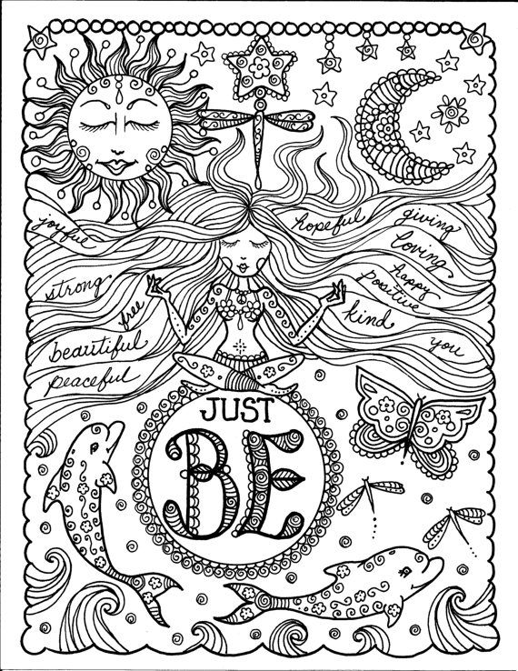 american hippie zentangle coloring page art just be quote coloring pagesadult coloring book - Coloring Book Pages For Adults 2