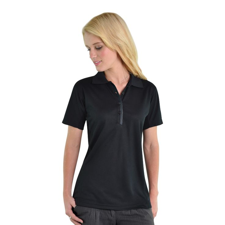 Ladies Matrix Polo BRAND: GLOBAL CITIZEN has wicks perspiration from skin to outer surface and dries quickly through evaporation