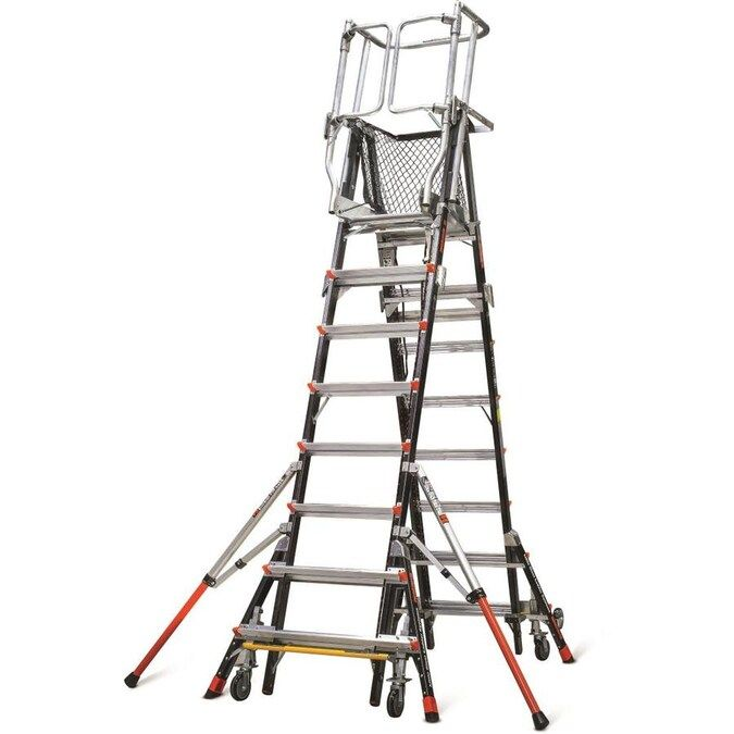 Little Giant Ladders Adjustable Safety Cage 14 Ft Fiberglass Type 1aa 375 Lbs Capacity Telescoping Platform Step Lad In 2020 Little Giants Step Ladders Resin Design