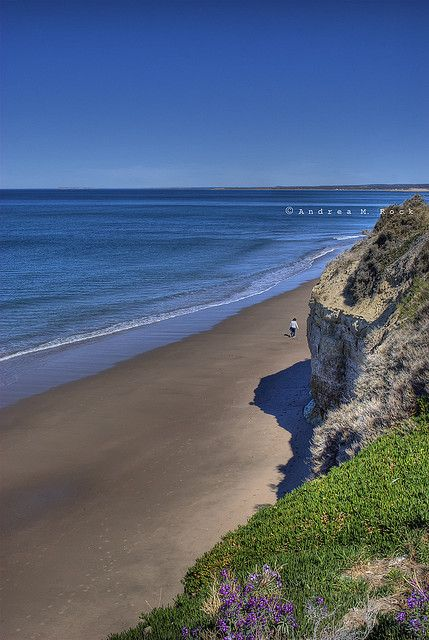 Deep blue sea and white beach :) Balneario Las Grutas