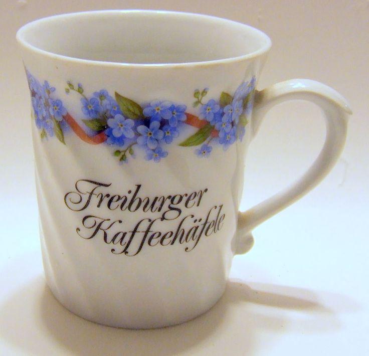 Elegant Freiburger Kaffeehafele Mug Coffee Cup Germany Black Forest Freiburg Floral