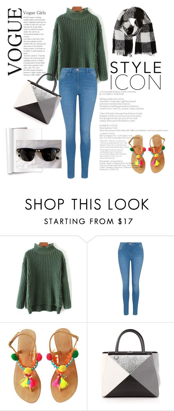 """""""Street Style: Green sweater"""" by freisstea on Polyvore featuring George, Fendi, Barneys New York and Ray-Ban"""