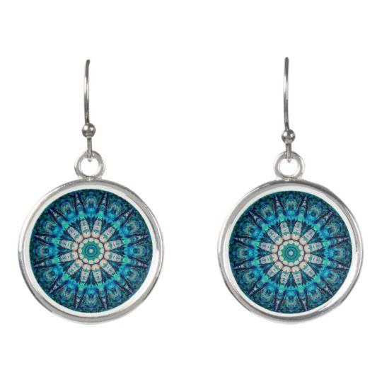 Blue Mandala Drop Earrings by www.zazzle.com/htgraphicdesigner* #zazzle #gift #giftidea #earrings #mandala #blue #turquoise