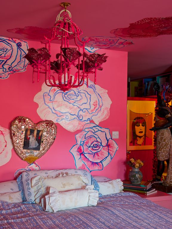 Pink bedroom in the home of fashion designer Zandra Rhodes