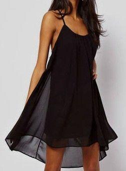 Vestido correa de espagueti gasa-Negro EUR€19.87