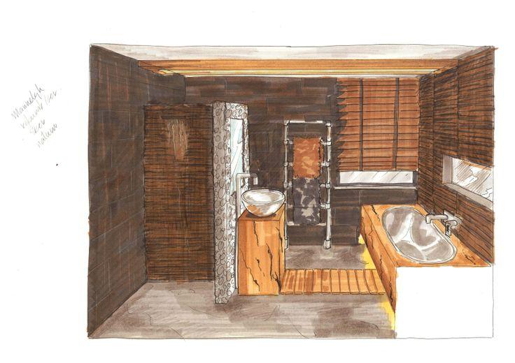 3d sfeertekening vrij ontwerp herenbadkamer door Ria Bernards, Ridesign