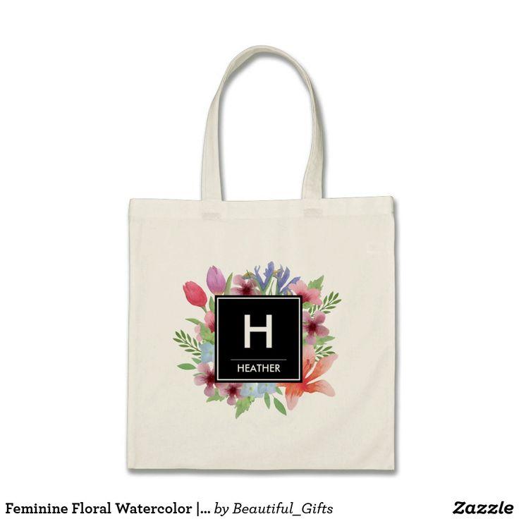Feminine Floral Watercolor | Custom Monogram Tote Bag